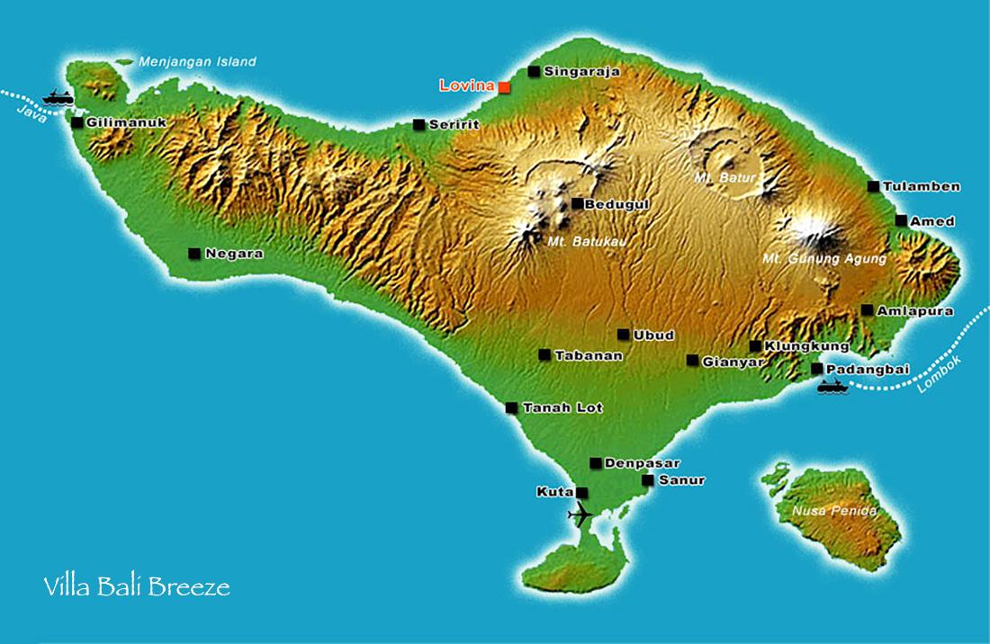 Kaart van Bali