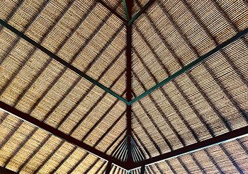 Het schitterende rieten dak van de villa
